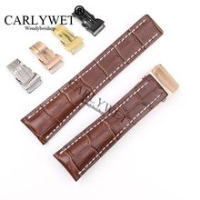 CARLYWET 22 24mm Brown Men Women Wholesale Replacement Real Cowhide Leather Wrist Watch Band Strap For Super Ocean GMT