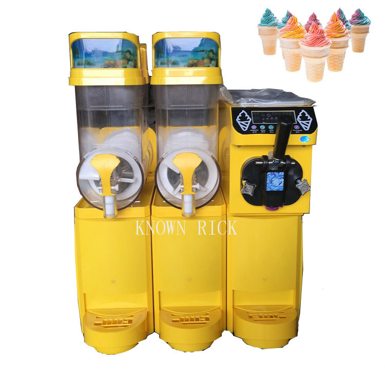 Commercial Two Tank Slush Machine+Ice Cream Machine For Cafeteria Coffee Shop Restaurant Business with hot selling