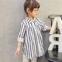 New Fashion Girl Autumn Vertical Stripe Shirt Children's Clothing Baby Kids Girls Spring Clothing Blouse Long Lapel Tunic Shirt