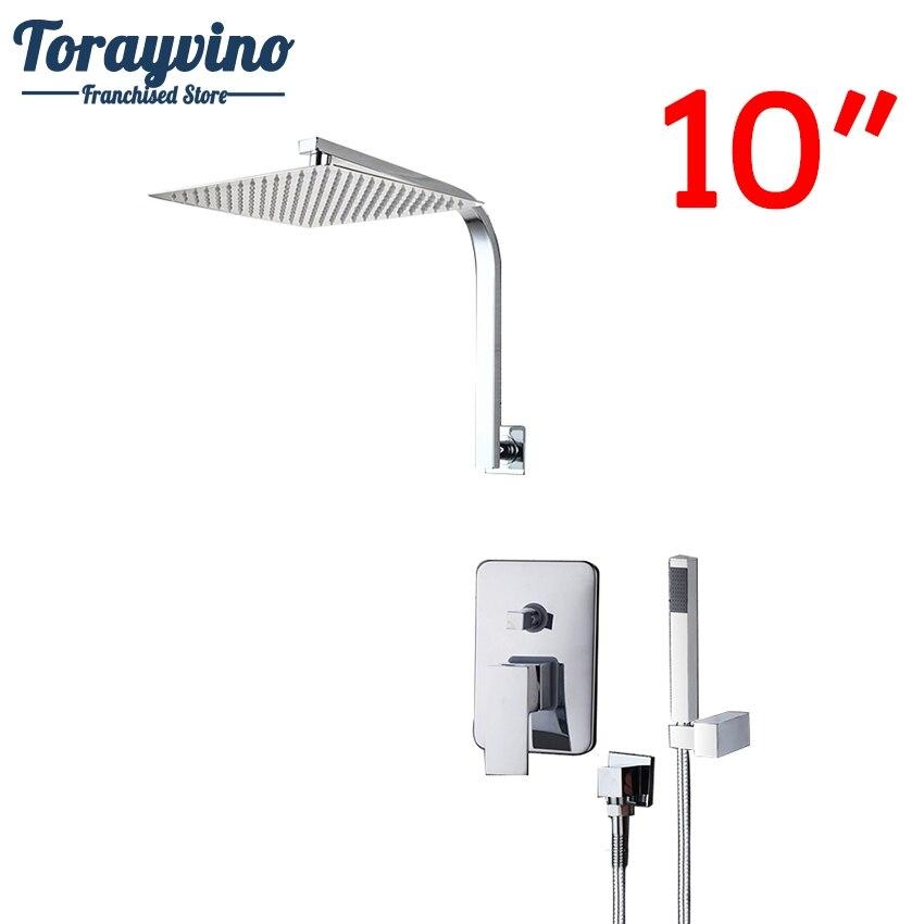 Torayvino Shower Set Mount Top Ceiling 10 Ultra-thin Rainfall Shower Head&Control Valve Wall Mounted Hot&Cold Water Mixer Set torayvino bathroom ceiling mount 12 ultra thin rainfall shower head