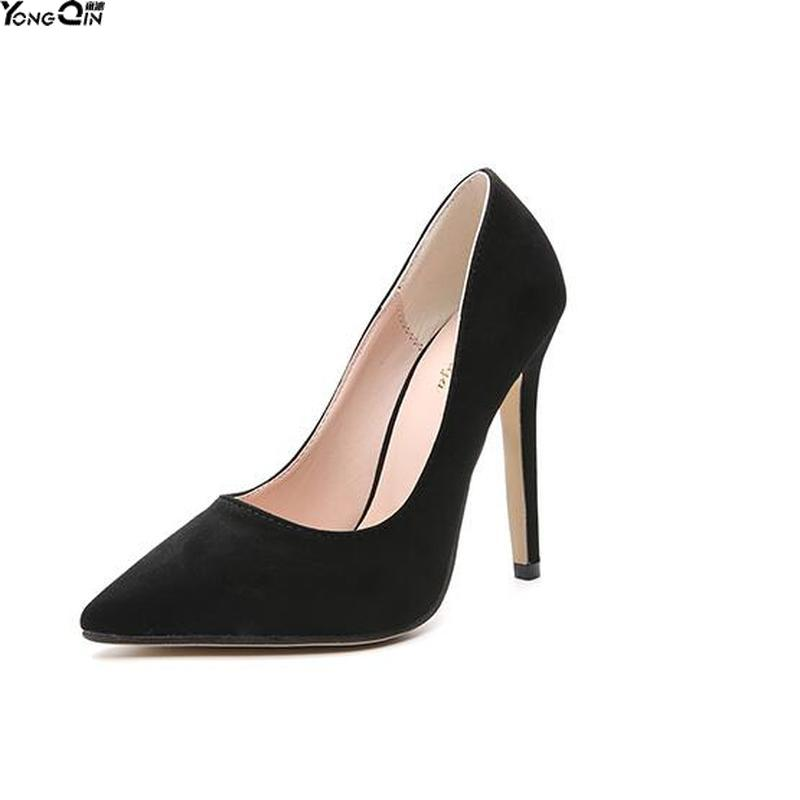<font><b>High</b></font> <font><b>Heels</b></font> Women Pumps Shoes <font><b>PU</b></font> Pointed Toe Office Lady Sexy <font><b>12</b></font> <font><b>cm</b></font> Wedding shoes image
