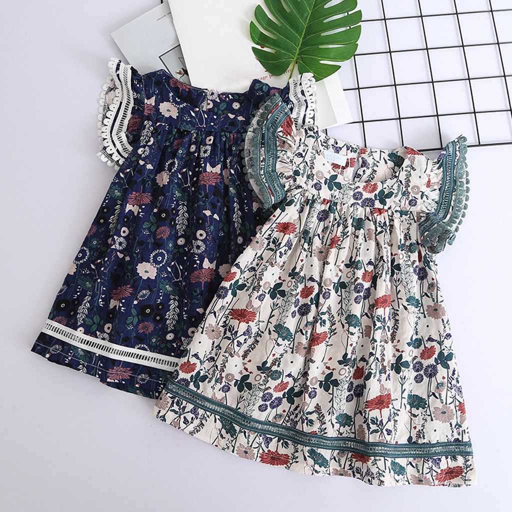 Toddler Kids Baby Girls Clothes Lace Floral Printing Party Princess Dresses 2019 Brand Children Party Dresses Flower Girls Hot