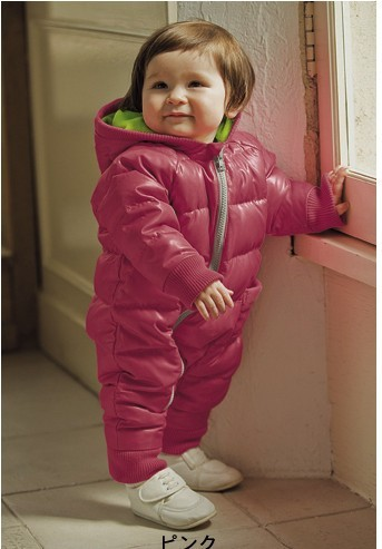 baby cotton quilted romper  winter hoodie jumpsuit outfit baby clothing girl clothes baby winterr outware baby pink lattice