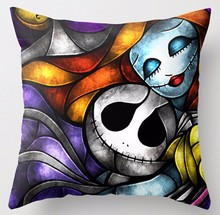 New Arrival Love Nightmare Before Christmas Jack And Sally Printing Square Pillowcases Throw Pillow Sham Retro Cushion Case