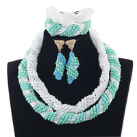 Gorgeous White and Blue African Choker Necklace Set Bridesmaid Party Events Jewelry Set African Wedding Free Shipping JB061