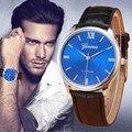 Mens relógios top marca de luxo relogio masculino 2016 Homens Retro Projeto PU LEATHER Liga Analógico relógio de Quartzo Relógio de Pulso do negócio