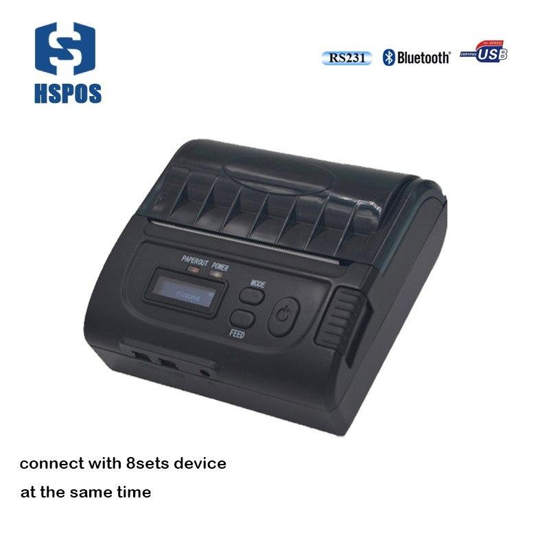 80 мм мобильный чековый принтер <font><b>Bluetooth</b></font> USB термопринтер Android SDK Поддержка IOS и подключения 8 компл. устройства между тем печати