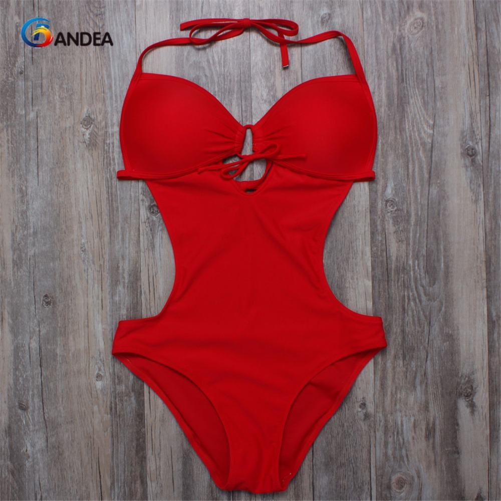 BANDEA sexy monokini swimsuits deep v bodysuit cut out one piece sexy bathing suit beach wear halter swimwear HA333 women solid one piece swimsuit halter backless bandage bodysuit monokini deep v neck sexy high waist vintage beach wear