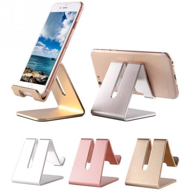 Porta Iphone Da Scrivania.Us 3 8 Universale Alluminio Del Metallo Del Telefono Mobile Tablet Supporto Da Tavolo Stand Per Iphone 7 7 Piu 6 S 6 5 S 5 Cellulare Per Kindle