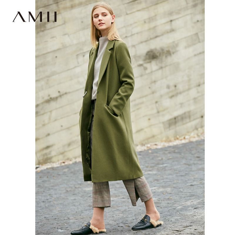Amii Causal Women Wool Coat Autumn Winter 2018 Office Solid Pocket Single Button Fashion High Quality Female Wool Jacket