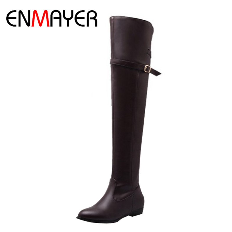 ENMAYER Fashion Winter Long Boots Shoes Woman Round Toe Flat With Large Size 34-45 Over-the-knee Boots Platform Shoes Warm Boots enmayer sexy red shoes woman high heels bowties charms size 34 47 zippers round toe winter over the knee boots platform shoes page 1