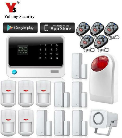 YobangSecurity IOS Android APP Control Home WIFI Alarm Systems Touch Screen GSM Wireless Burglar Alarm System with Strobe Siren yobangsecurity touch keypad wifi gsm gprs rfid alarm home burglar security alarm system android ios app control wireless siren