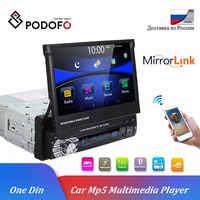 Podofo 1 din Player Multimídia de áudio Estéreo Bluetooth Rádio Do Carro sem GPS 1DIN 7