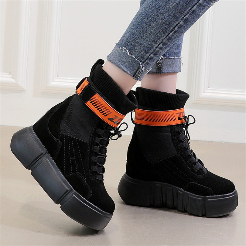 NAYIDUYUN New Women Shoes Genuine Leather Wedges Platform High Heels Party Pumps Lace Up Punk Fashion Sneakers Casual Shoes in Women 39 s Pumps from Shoes