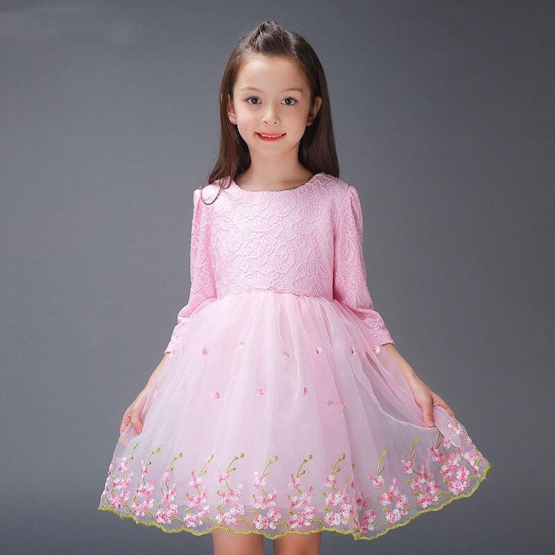 De encaje de flores niña vestidos de partido rosado blanquecino y la ...