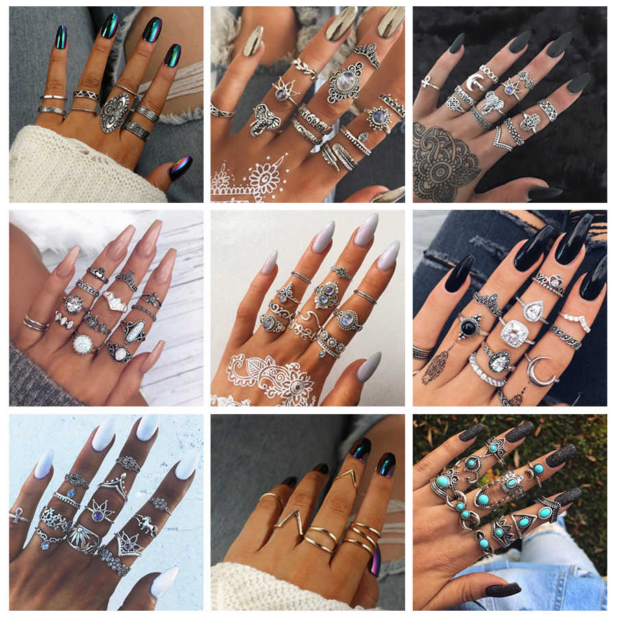 Docona Bohemia Geometric New Fashion Vintage Silver Gold Color Finger Rings Sets For Women Ladies Jewelry Drop Shipping