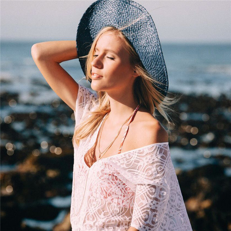 2018 Hot Sale Sexy Beach Cover up Crochet White Swimwear Dress Ladies Bathing Suit Cover ups Beach Tunic Saida de Praia Vestidos