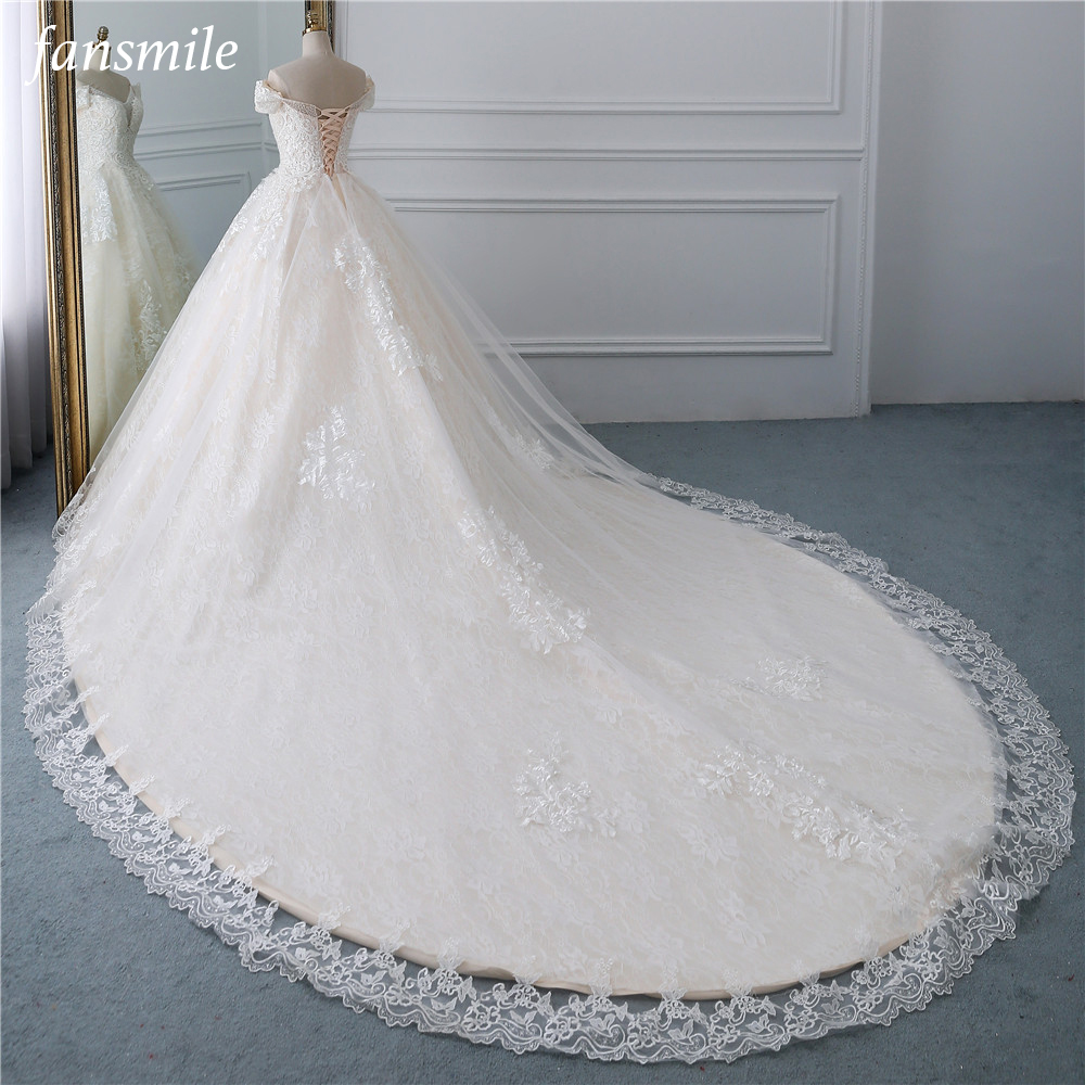 Fansmile Luxury Lace Beading Long Train Ball Gown Wedding Dress 2019 Vestidos De Novia Princess Wedding Bride Dress FSM-531T