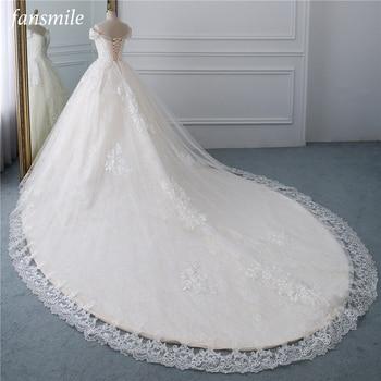 Fansmile Luxury Lace Beading Long Train Ball Gown Wedding Dress 2020 Vestidos de Novia Princess Bride FSM-531T - discount item  30% OFF Wedding Dresses