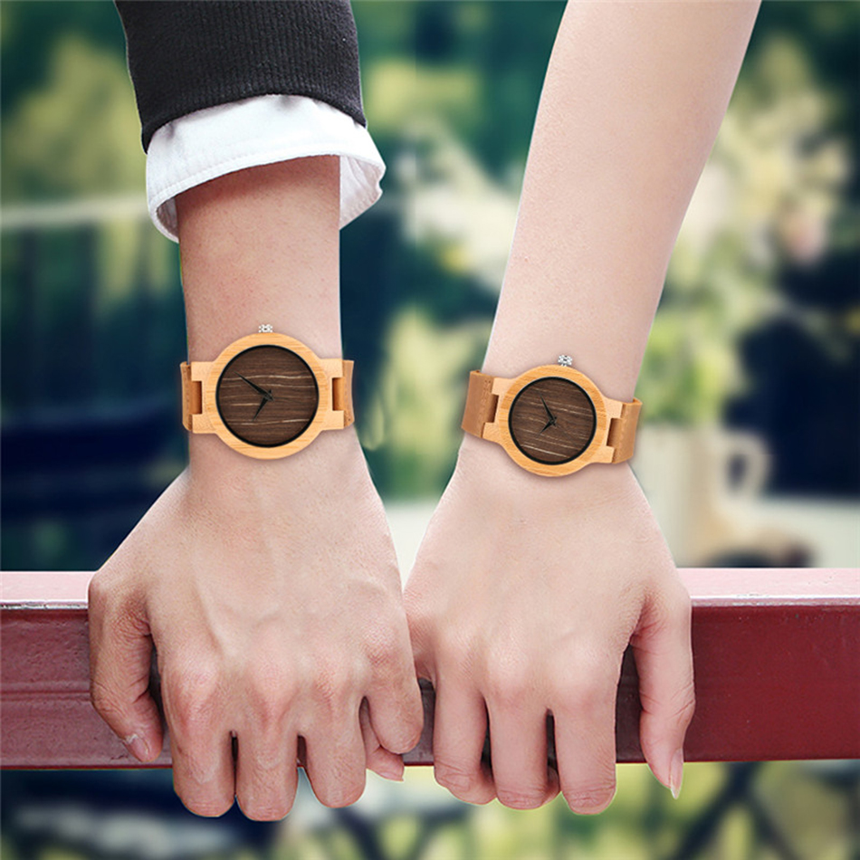 Simple Wood Watches Men Handmade Quartz Wrist Watch Trendy Couple Watches Valentine Present reloj Genuine Leather Band YISUYA valentine womage quartz rhinestone decoration wrist watch with dots hour marks silver case steel band for couple