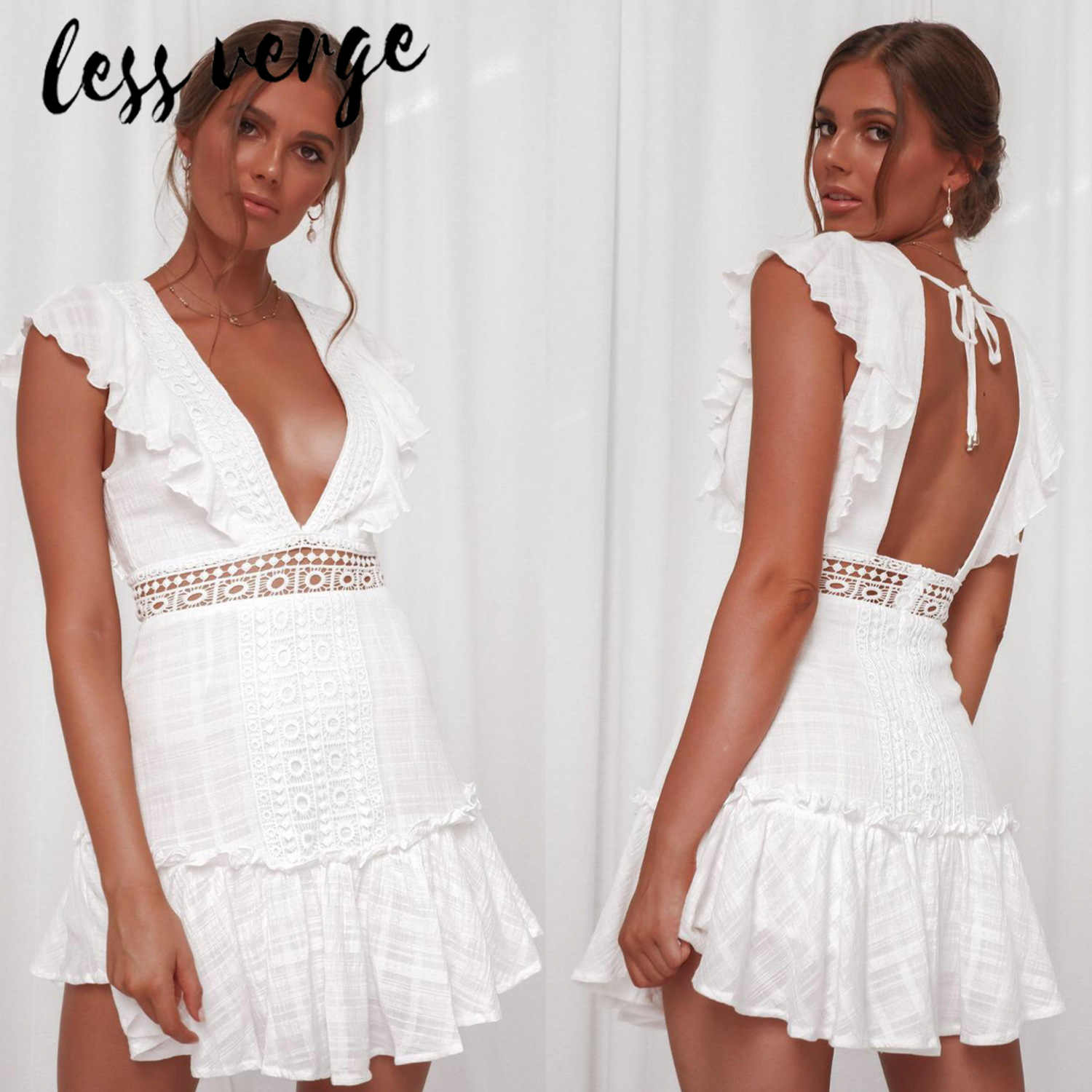 02bcef360ae51 lessverge Deep v neck embroidery women dress Ruffle lace up cotton lace up  summer dresses Sexy hollow out pink mini beach dress
