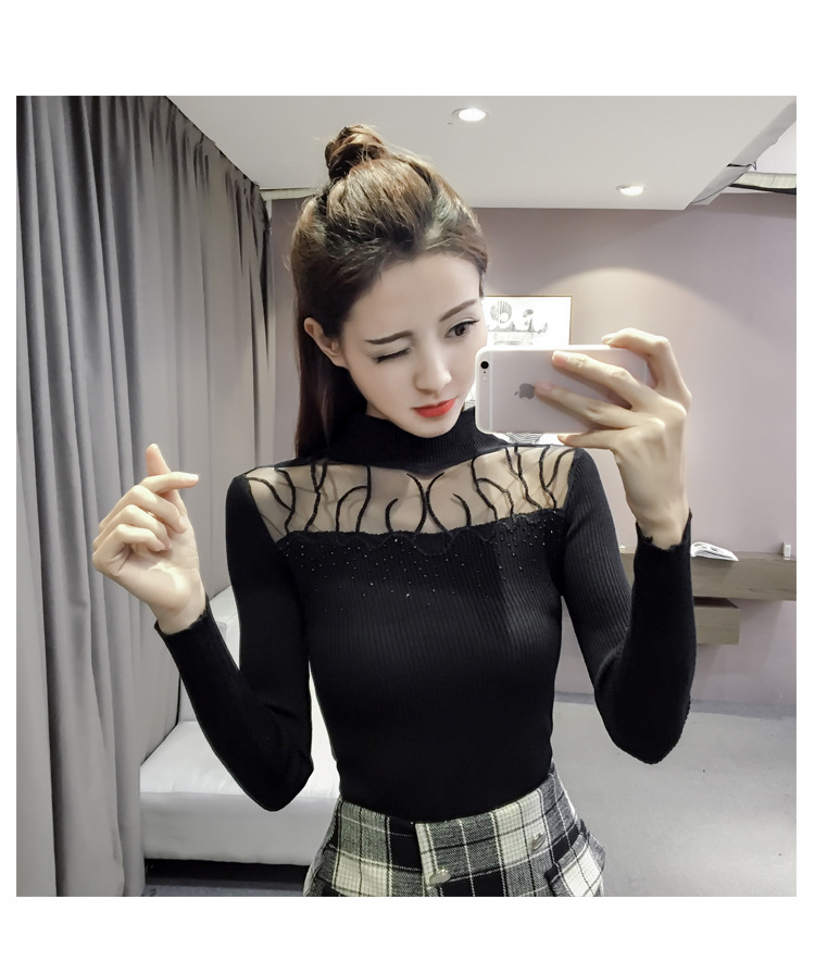Women Embroidery Hot Fix Rhinestone Knitted Sweater Pullover Top Full Sleeve O-Neck Spring Autumn Winter Hot Sale