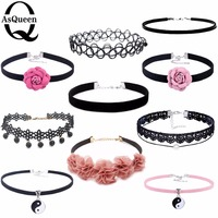 10PCS/Set PU Leather Choker Necklaces Set For Women Steampunk Collar Lace Necklace Jewelry Gothic Tattoo Collier Femme