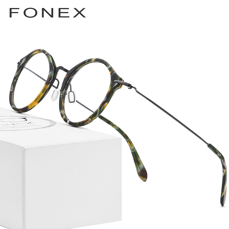 Elastic B Titanium Optical Glasses Frame Women Vintage Round Prescription Eyeglasses Men Retro Myopia Acetate Spectacles Eyewear