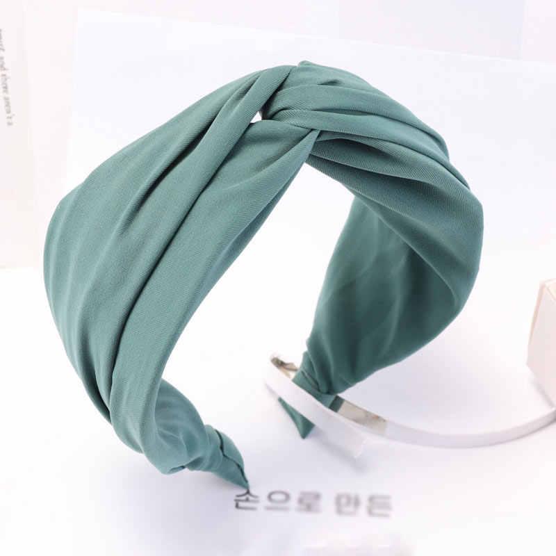 Popular feminino primavera outono bandana vintage cruz nó elástico faixas de cabelo macio sólido largo dot meninas hairband acessórios para o cabelo