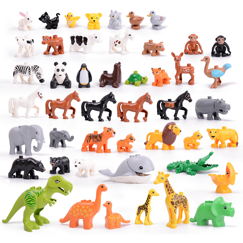 5-50pcs DIY Big Size Farm Dinosaur Animal Series Building Blocks Sets Bricks Compatible with Duploe Toys  for children Kids Gift