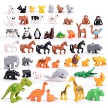 5-50pcs DIY Big Size Farm Dinosaur Animal Series Building Blocks Sets Bricks Compatible with Duploe Toys  for children Kids Gift