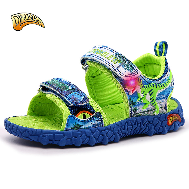 DINOSOLES Kids Boys Sandals 2019 Summer LED Light Beach Shoes Leather Summer Kids Shoes Slippers Casual Sandal 3D DinosaurDINOSOLES Kids Boys Sandals 2019 Summer LED Light Beach Shoes Leather Summer Kids Shoes Slippers Casual Sandal 3D Dinosaur