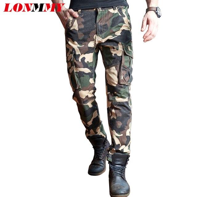 LONMMY Военный камуфляж брюки мужские 100% хлопок Моды Армии брюки Марка одежды брюки-Карго мужчины военная multi-карман