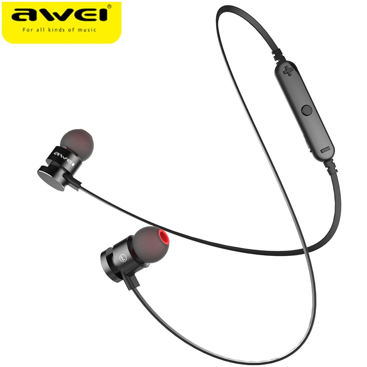 Più nuovo AWEI T11 Cuffia Senza Fili Bluetooth Cuffia Auricolare Per Il Telefono Neckband sport auricolare Auriculare CSR Bluetooth V4.2