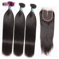 Msbeauty Mink Peruvian Straight Hair 3 Bundles With Closure Remy Hair Weave Human Hair Bundles With