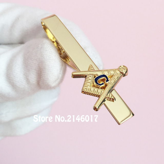 US $9 99 |High Quality Masonic Square and Compass G Soft Enamel Tie Clips  Mens T shirt Clothing Ties Bar Freemason Masonry Clip-in Pins & Badges from