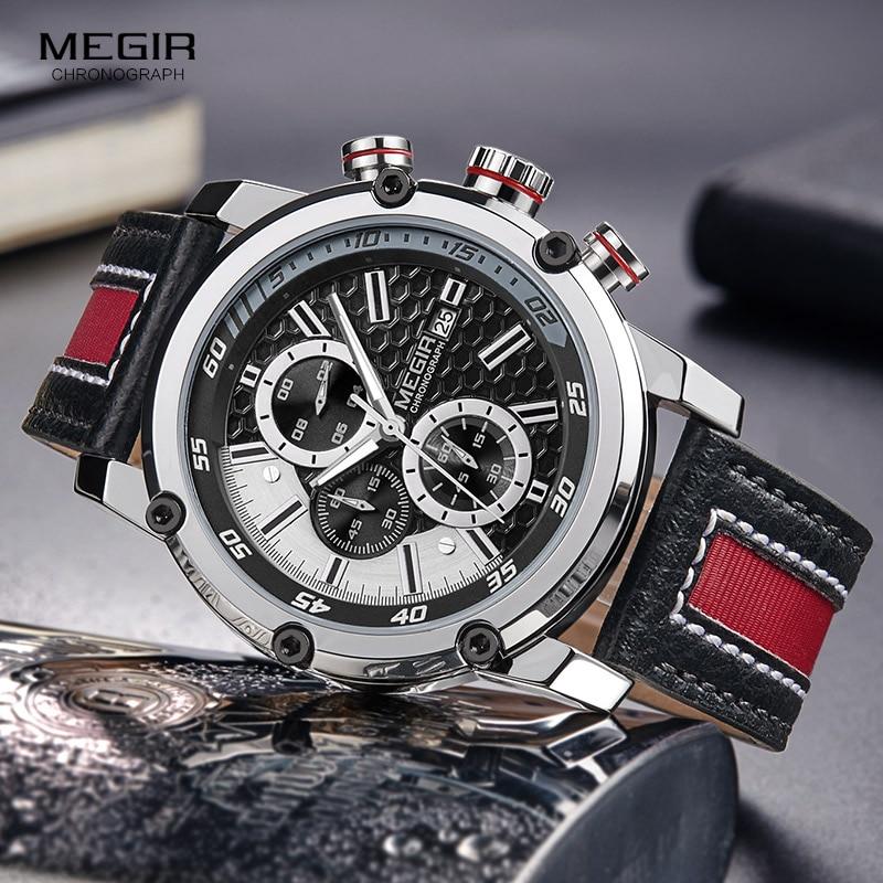 MEGIR Men's Waterproof Leather Strap Quartz Watches Fashion Chronograph Wrist Watch For Man Luminous Hands 2079GBK-1