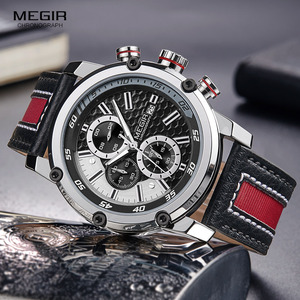 Image 1 - MEGIR montre bracelet étanche en cuir pour homme, montre à Quartz, mode chronographe, pour mains lumineuses, 2079GBK 1