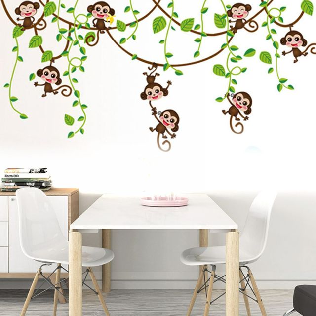 Kunst Aufkleber Kinderzimmer Affe Dschungel Baum Wandaufkleber ...
