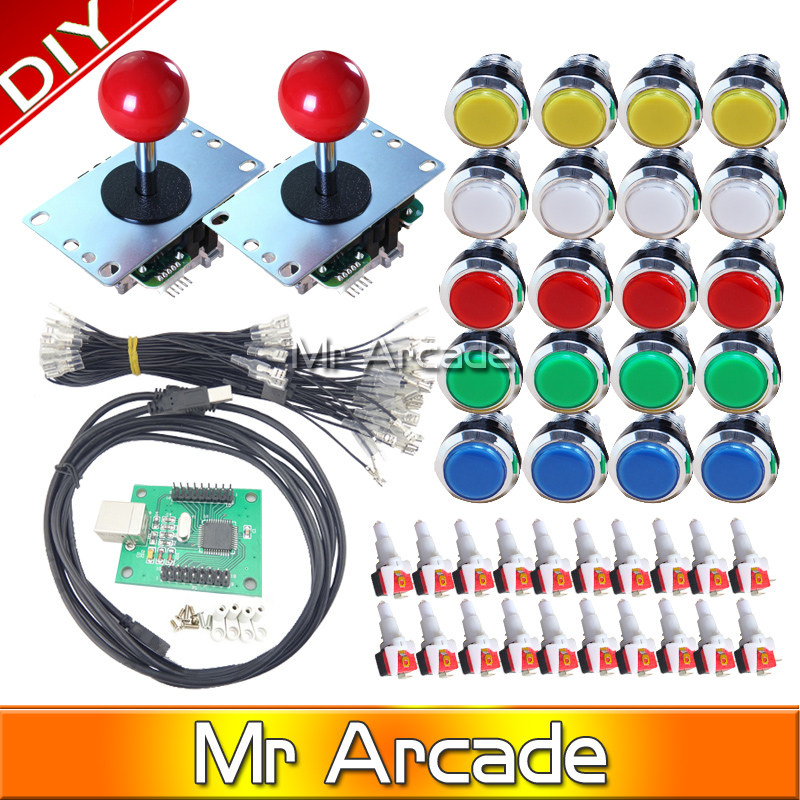 DIY KIT FOR 2 players PC PS3 2IN1 to joystck Arcade Multicade with iconLED button interface USB  12V Chrome Plated Illuminated hormonal key players for obesity in children with down syndrome