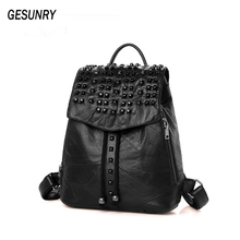 New  100% sheepskin women's backpacks fashion backpack hight quality Vintage Travel School bags