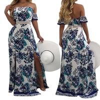 Fashion Women Strapless Shoulder Off Party Floor-Length Gown Dress Bohemian Boho Floral Printed Split Maxi Dress