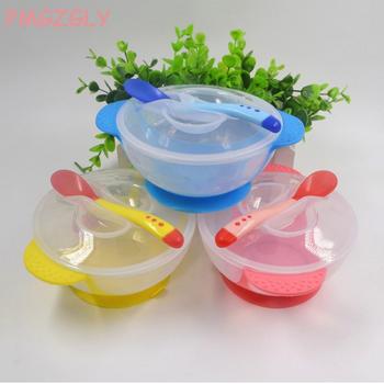 Czujnik temperatury łyżeczka do karmienia dziecko zastawa stołowa miska na karmę nauka naczynia serwis płyta taca przyssawka zestaw obiadowy dla dzieci tanie i dobre opinie KEYBOX Silikonowe BPA za darmo Lateksu Stałe Baby Dishes Ce ue