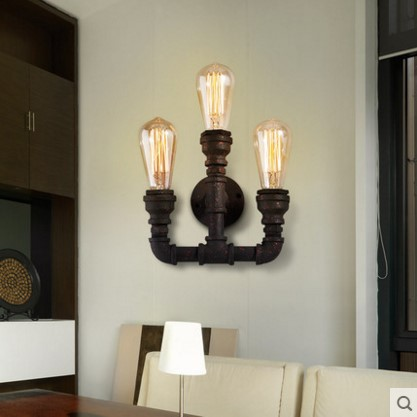Style Loft Industrial Vintage Wall Lamp With 3 Lights for Home Pipe Light Edison Wall Sconce Arandela Lamparas Aplik loft style edison decorative wall sconce mirror wall light fixtures vintage industrial lighting wall lamp for home lampara