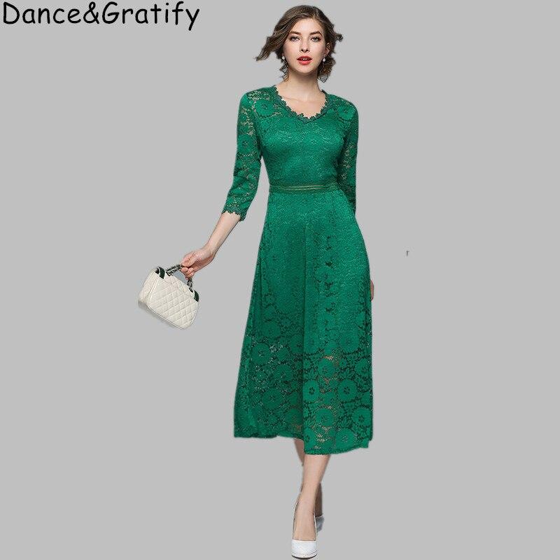 bc35c4ec561 New 2019 Spring Women Green Lace Party Dress Elegant Half Sleeve Slim Long  Mid-calf