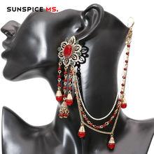 Sunspicems-pendientes indios de piedra Natural para mujer, tocado de enlace para mujer, cuenta de Color oro antiguo, cadena de diamantes de imitación, joyería de boda