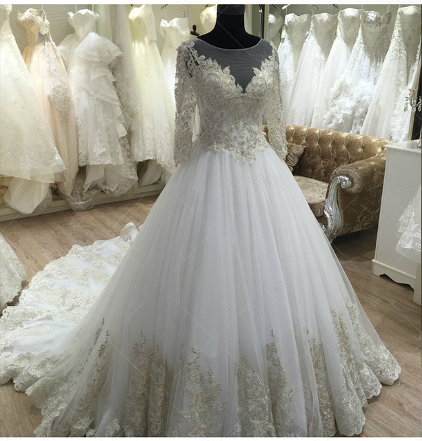 Long Sleeve Lace Wedding Dresses Ball Gown Backless: Aliexpress.com : Buy Long Sleeve Princess Lace Wedding