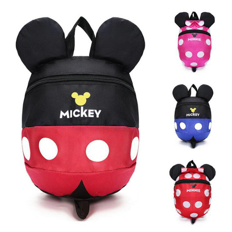 Cute Cartoon Minnie Mickey Children Backpacks Kids Kindergarten Anti-lost Backpack Baby School Bags Satchel For Boys And Girls