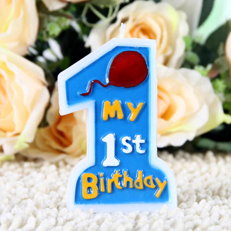 Baby Big Numbers 1 Year Old Birthday Candle Cartoon Candle Smokeless Candle Wedding Decor Scented Candle Making