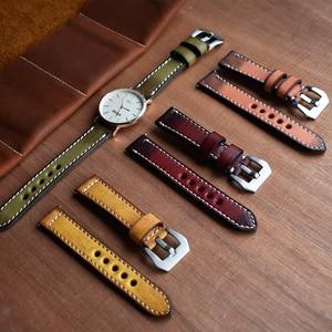 Image 2 - Onthelevel Correa de reloj de cuero genuino estilo Vintage, correa de cuero de 20 a 22mm, banda de reloj rojo amarillo, naranja y verde para Panerai # C